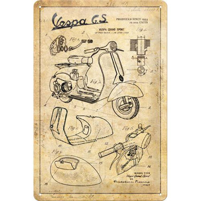 Vespa - Parts Sketches Tin Sign 20 x 30, Vespa, A402