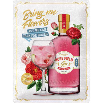 Pink Gin flowers Tin Sign 30 x 40cm