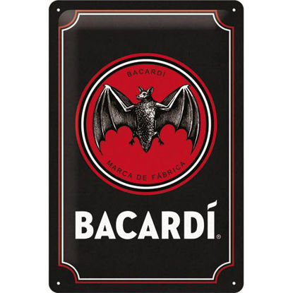 Bacardi - Logo Black Tin Sign 20 x 30, Barcadi, A402