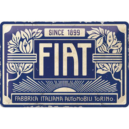 Fiat - Since 1899 Logo Blue Tin Sign 20 x 30, Fiat, A402
