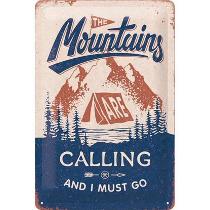The Mountains Are Calling Tin Sign 20 x 30, Outdoor & Activities