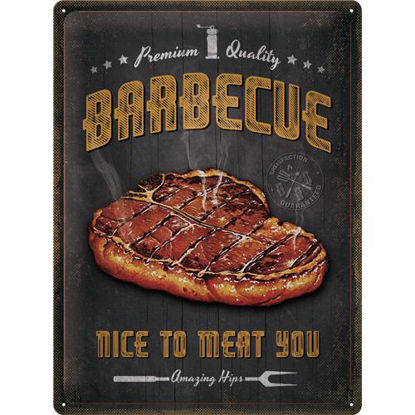 Barbecue Nice To Meat You Tin Sign 30 x 40, Outdoor & Activities