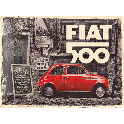 Fiat 500 - Red car in the street Tin Sign 30 x 40, Fiat, A403