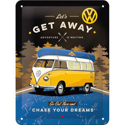 VW Bulli - Let's Get Away Night Tin Sign 15 x 20, Volkswagen