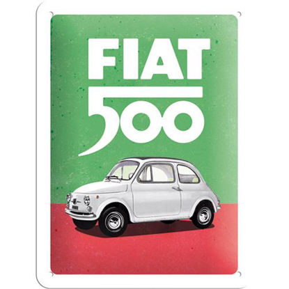 Fiat 500 - Italian Colours Tin Sign 15 x 20, Fiat