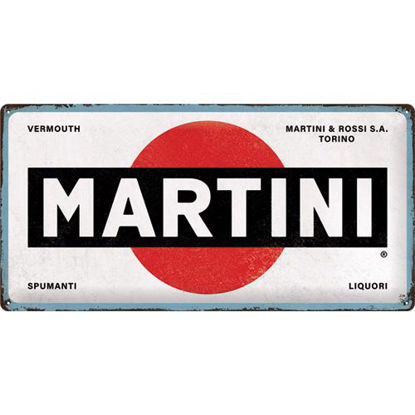 Martini - Logo White Tin Sign 25 x 50, Martini