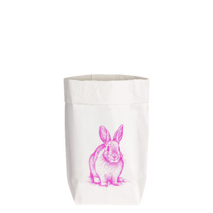 Paperbags Small weiss, HASE SITZEND, neon pink