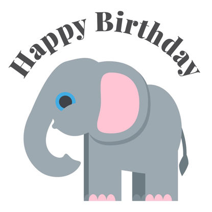 Elefant, Happy Birthday Doppelkarte quadratisch 14.5 x 14.5 cm m