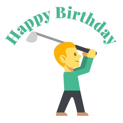 Golf, Happy Birthday Doppelkarte quadratisch 14.5 x 14.5 cm m