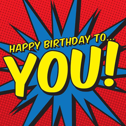 Happy Birthday to You! - Blue Zap, Comic Doppelkarte quadratisch 14.5 x 14.5 cm m