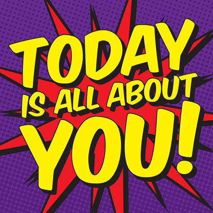 Today is all about you!, Comic Doppelkarte quadratisch 14.5 x 14.5 cm m