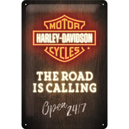 Harley-Davidson - Road is Calling Neon, Tin Sign 20 x 30cm