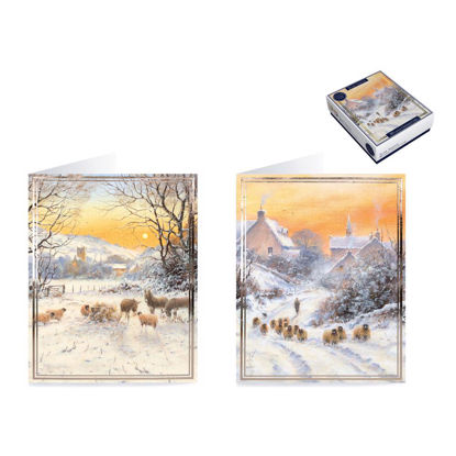 Kartenbox, 20 Doppelkarten Lux Boxed Sunset Sheep
