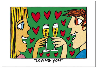 "James Rizzi Postkarten ""Loving you"", 16.5x11.5x0.1cm"