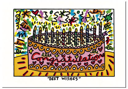 "James Rizzi Postkarte ""Best wishes"", 16.5x11.5x0.1cm"