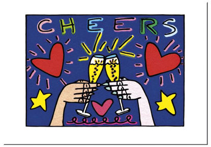 "James Rizzi Postkarte ""Cheers"", 16.5x11.5x0.1cm"