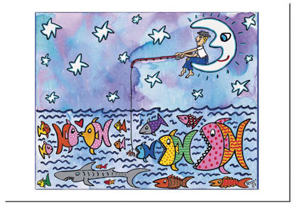 "James Rizzi Postkarte ""Fishing by the li, 16.5x11.5x0.1cm"