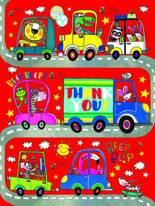 Beep Beep Cars - Thank You - Pack of 5, Doppelkarten mit Couvert, 80x105mm