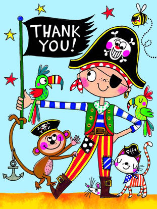 Pirate/Thank You - Pack of 5, Doppelkarten mit Couvert, 80x105mm