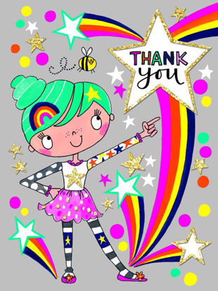 Suki Starburst/Thank You - Pack of 5, Doppelkarten mit Couvert, 80x105mm