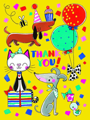 Cats & Dogs/Thank You - Pack of 5, Doppelkarten mit Couvert, 80x105mm