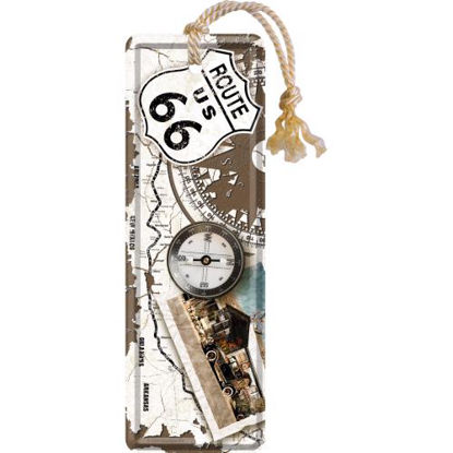 Route 66 Compass, US Highways, Metal Bookmark, 15x0x5 cm/A408