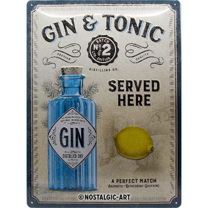 Gin & Tonic Served Here, Open Bar, Tin Sign 30 x 40cm/A403