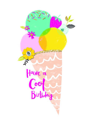 Hello Peachy - Cool Birthday/Ice Cream, Doppelkarte mit Couvert, 108x153mm