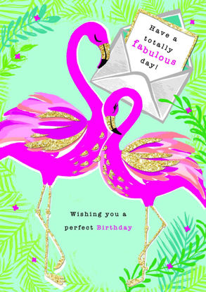 Piccolo - Birthday/Flamingos, Doppelkarte mit Couvert, 108x153mm