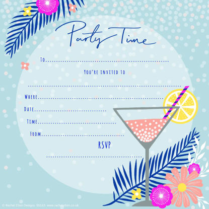 Party Invites Cocktail Glass - Pack of 8, 149x149mm