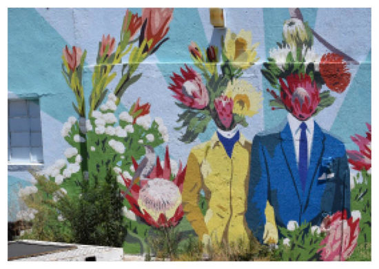 Postkarte quer, Streetart, HEAD FULL OF FLOWERS