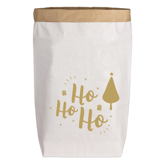 Paperbags Large weiss, HO HO HO, gold