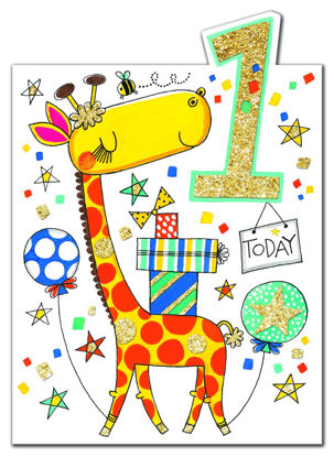 Cherry on Top - Age 1 boy/Giraffe, Doppelkarte mit Couvert, 178x127mm