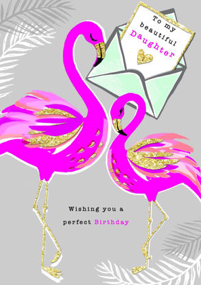 Piccolo - Birthday Daughter/Flamingos, Doppelkarte mit Couvert, 108x153mm