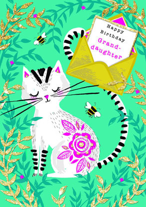 Piccolo - Birthday Granddaughter/Cat, Doppelkarte mit Couvert, 108x153mm