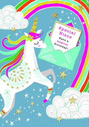 Piccolo - Birthday Niece/Unicorn, Doppelkarte mit Couvert, 108x153mm