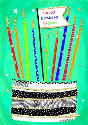 Piccolo - B'day/Cake & Candles, Doppelkarte mit Couvert, 108x153mm