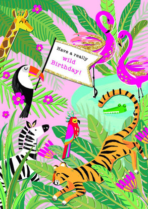 Piccolo - B'day/Wild Jungle, Doppelkarte mit Couvert, 108x153mm