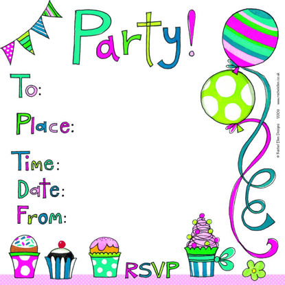 Party Invite/Balloons/Cake, 149x149mm