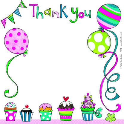 Thank You/Balloons/Cake, 149x149mm