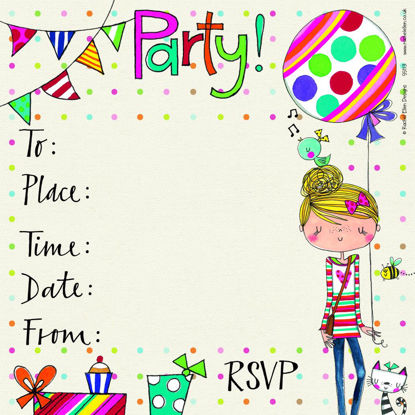 Party Invite/Girl/Balloon (pack of 8), 149x149mm