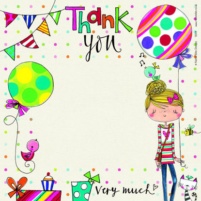 Thank You/Girl/Balloon (pack of 8), 149x149mm