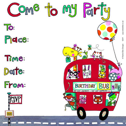 Party Invite/Birthday Bus (pack of 8), 149x149mm