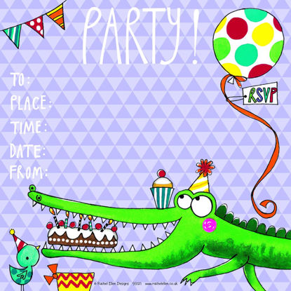 Party Invite/Crocodile (pack of 8), 149x149mm