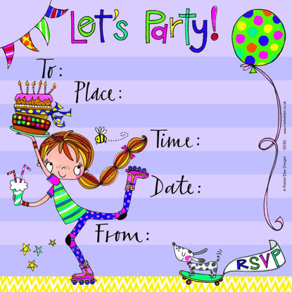 Let's Party Invite Girl on Roller blades, 149x149mm