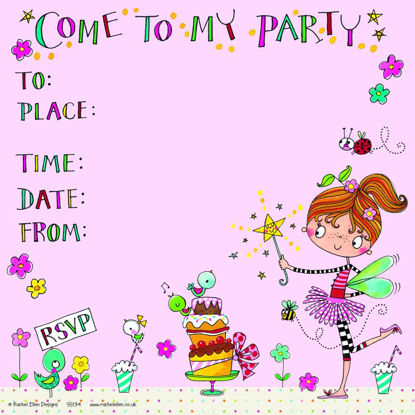 Party Invitation - Fairy & Cake (pack of, 149x149mm