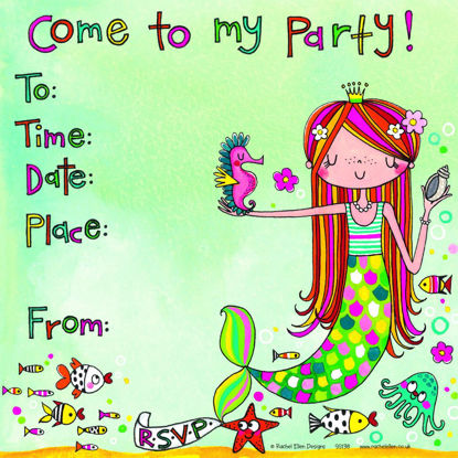 Mermaid Party Invitation (Pack of 8), 149x149mm