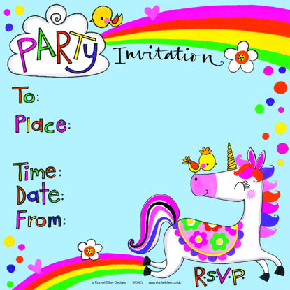 Unicorn Party Invitation (Pack of 8), 149x149mm