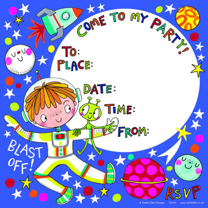 Party invitation  Outer Space - Pack of, 149x149mm
