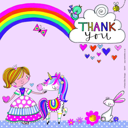 Thank you Princess & Unicorn - Pack of 8, 149x149mm
